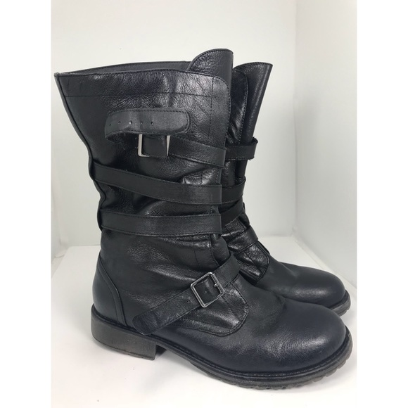 730eee9fd9 Steve Madden Ashtin Mid Calf Leather Moto Boot 8.5.  M 5a637e942ab8c5afe834536d